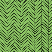 herringbone feathers apple green on black