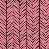 herringbone feathers berry cream on black