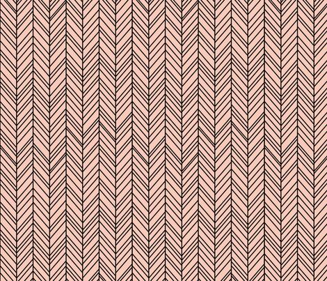 herringbone feathers blush on black fabric by misstiina on Spoonflower - custom fabric