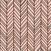 herringbone feathers blush on black