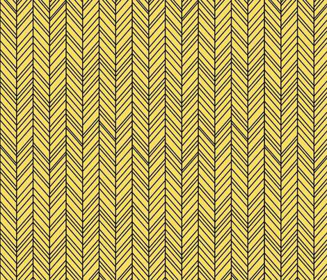 herringbone feathers butter yellow on black fabric by misstiina on Spoonflower - custom fabric