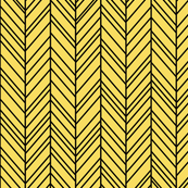 herringbone feathers butter yellow on black
