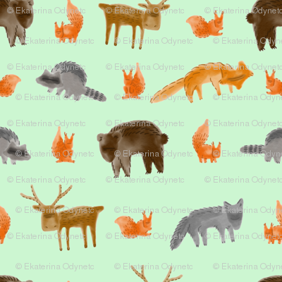 Forest Creatures 1200x1200 green