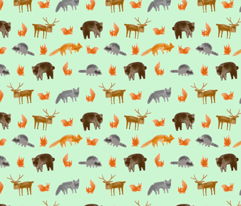 Forest Creatures 1200x1200 green fabric by bezzikapa on Spoonflower - custom fabric