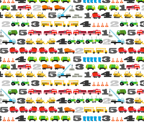 Trucks and Tractors Small Counting fabric by lauriewisbrun on Spoonflower - custom fabric