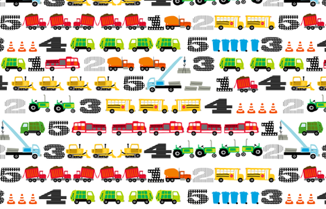 Trucks and Tractors Large Counting fabric by lauriewisbrun on Spoonflower - custom fabric