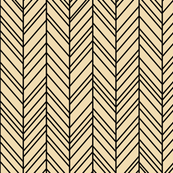 herringbone feathers creamy banana on black