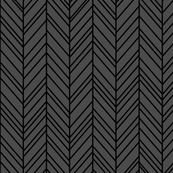 herringbone feathers dark grey on black