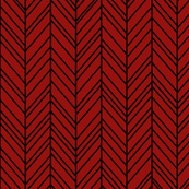 herringbone feathers dark red on black