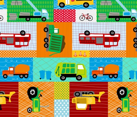 Trucks and Tractors Panel Medium fabric by lauriewisbrun on Spoonflower - custom fabric