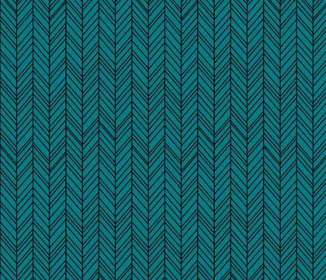 herringbone feathers dark teal on black fabric by misstiina on Spoonflower - custom fabric