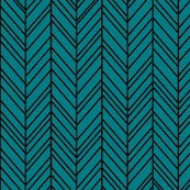herringbone feathers dark teal on black