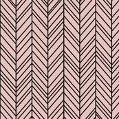 herringbone feathers dusty pink on black