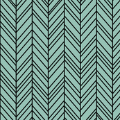 herringbone feathers faded teal on black
