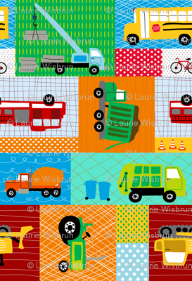 Trucks and Tractors Panel Large