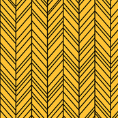 herringbone feathers golden honey on black