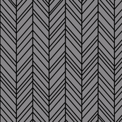 herringbone feathers granite grey on black