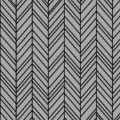 herringbone feathers grey on black