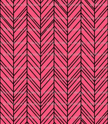 herringbone feathers hot pink on black