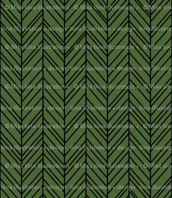 herringbone feathers hunter green on black