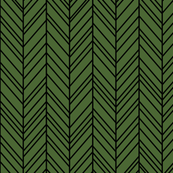 herringbone feathers hunter green on black