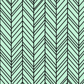 herringbone feathers ice mint green on black