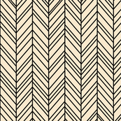 herringbone feathers ivory on black