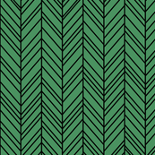 herringbone feathers kelly green on black