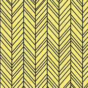 herringbone feathers lemon yellow on black
