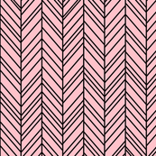 herringbone feathers light pink on black