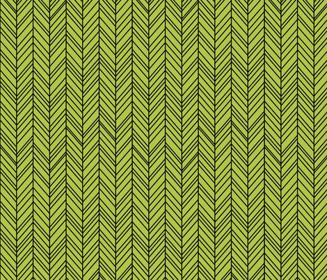 herringbone feathers lime green on black fabric by misstiina on Spoonflower - custom fabric
