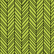 herringbone feathers lime green on black