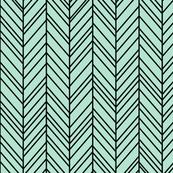 herringbone feathers mint green on black