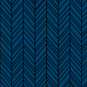herringbone feathers navy blue on black