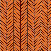 herringbone feathers orange on black