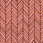 herringbone feathers peach on black