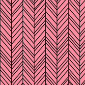 herringbone feathers pretty pink on black