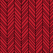 herringbone feathers red on black