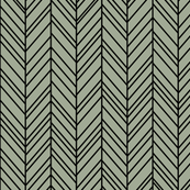 herringbone feathers sage green on black