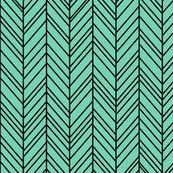 herringbone feathers sea foam green on black