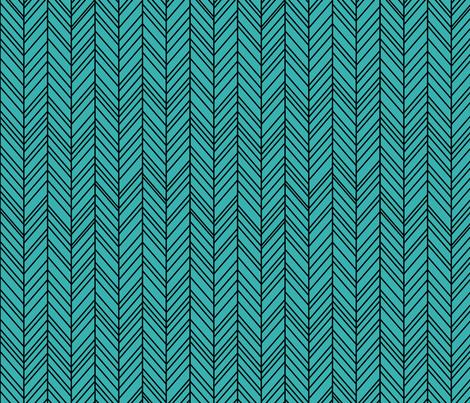 herringbone feathers teal on black fabric by misstiina on Spoonflower - custom fabric
