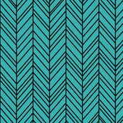 herringbone feathers teal on black