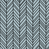 herringbone feathers slate blue on black