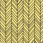 herringbone feathers sunshine yellow on black