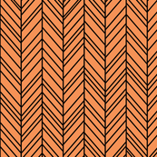 herringbone feathers tangerine orange on black