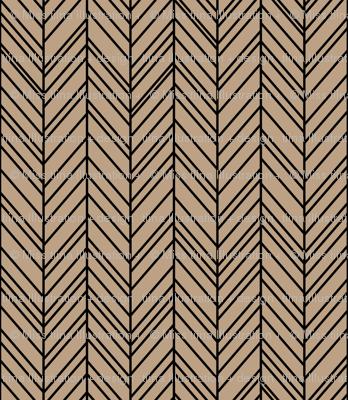 herringbone feathers tan on black
