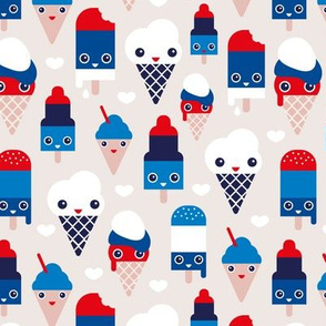 Colorful sweet ice cream popsicle sugar kawaii american holiday 4th of July illustration