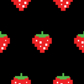 Pacman Retro Video Game Strawberries on Black