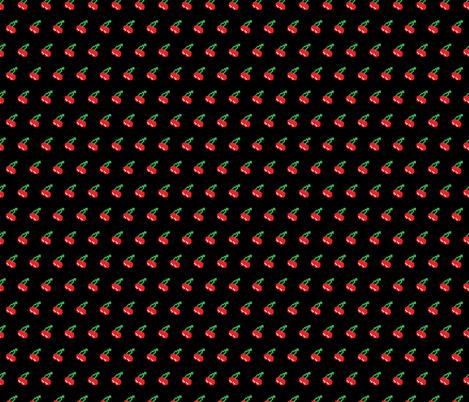 Pacman Retro Video Game Cherries on Black fabric by khaus on Spoonflower - custom fabric