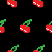 Pacman Retro Video Game Cherries on Black